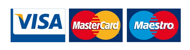 We accept the following cards - Visa - Mastercard - Maestro - Paypal